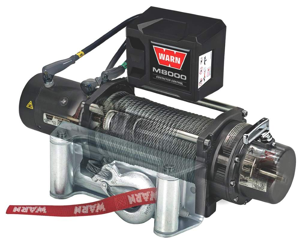 Warn M8000 Winch side view