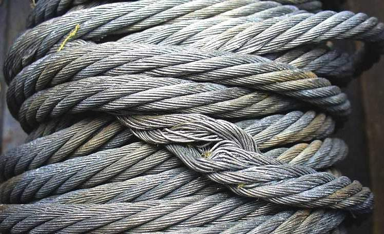 destroyed steel rope